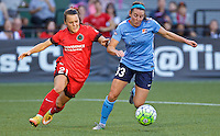 Portland, OR - Saturday July 02, 2016: Hayley Raso, Erin Simon during a regular season National Women's Soccer League (NWSL) match between the Portland Thorns FC and Sky Blue FC at Providence Park.