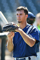Outfielder Jacob Zanon (21) of the Columbia Fireflies during the team's first workout of the season on Sunday, April 2, 2017, at Spirit Communications Park in Columbia, South Carolina. (Tom Priddy/Four Seam Images)