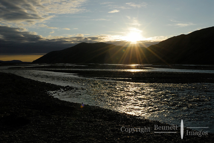 The midnight sun illuminates the Kongakut River, in Alaska's Arctic National Wildlife Refuge.