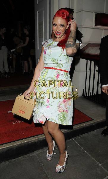 Jodie Marsh.attended the TLC new American TV channel launch party, Sketch bar & restaurant, Conduit St., London, England, UK, 25th April 2013..full length tattoo red dyed hair white floral print dress belt waist vintage retro victory roll hair ponytail box holding make-up shoes smiling hand touching hair .CAP/CAN.©Can Nguyen/Capital Pictures.