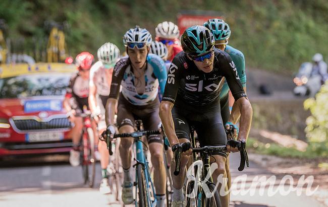 Chris Froome (GBR/SKY) trying to force the pace up the finish climb of the Dauphin&eacute;: the Plateau de Solaison (HC/1508m/11.3km @9.2%)<br /> <br /> 69th Crit&eacute;rium du Dauphin&eacute; 2017<br /> Stage 8: Albertville &gt; Plateau de Solaison (115km)