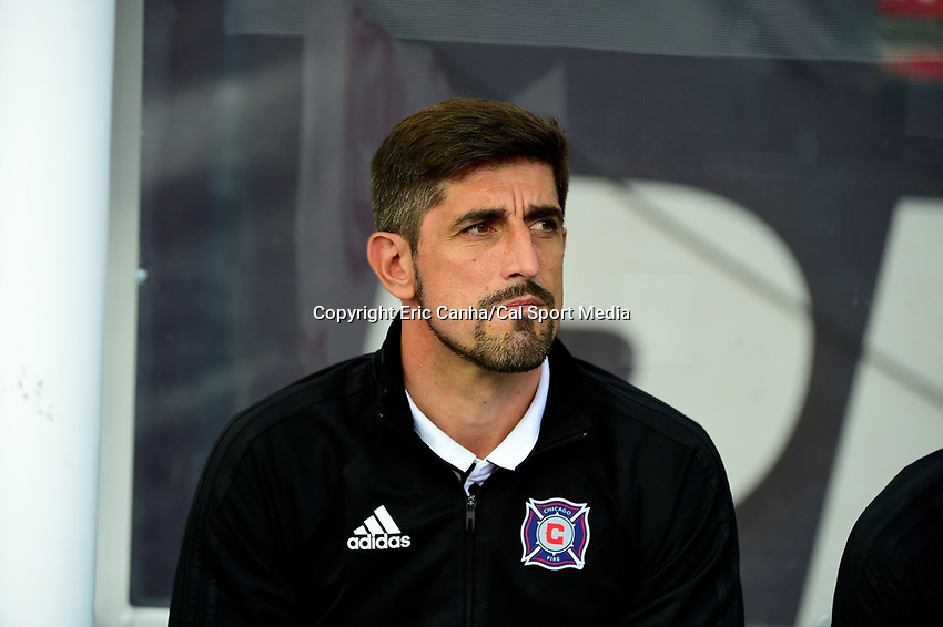 June 17, 2017: Chicago Fire head coach Veljko Paunovic waits for the start of the MLS game between Chicago Fire and the New England Revolution held at Gillette Stadium in Foxborough Massachusetts. Chicago defeats New England 2-1. Eric Canha/CSM