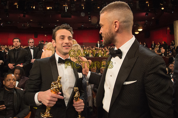 Oscar&reg; winner Justin Hurwitz and JustinTimberlake during the live ABC Telecast of The 89th Oscars&reg; at the Dolby&reg; Theatre in Hollywood, CA on Sunday, February 26, 2017.<br /> *Editorial Use Only*<br /> CAP/PLF/AMPAS<br /> Supplied by Capital Pictures