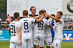 01.08.2020, C-Team Arena, Ravensburg, GER, WFV-Pokal, FV Ravensburg vs SSV Ulm 1846 Fussball, <br /> DFL REGULATIONS PROHIBIT ANY USE OF PHOTOGRAPHS AS IMAGE SEQUENCES AND/OR QUASI-VIDEO, <br /> im Bild Torjubel der Ulmer, Tobias Rühle / Ruehle (Ulm, #31), Adrian Beck (Ulm, #8), Vinko Sapina (Ulm, #22), Lennart Stoll (Ulm, #18) und Johannes Reichert (Ulm, #5) gratulieren dem Torschützen Steffen Kienle (Ulm, #23) (verdeckt)<br /> <br /> Foto © nordphoto / Hafner