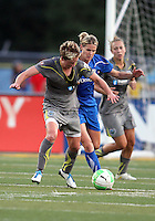 Joanna Lohman #17 of the Philadelphia Independence is tackled by Kelly Smith #10 of the Boston Breakers during a WPS match at John A. Farrell Stadium on August 29 2010, in West Chester, PA. Breakers won 2-1.
