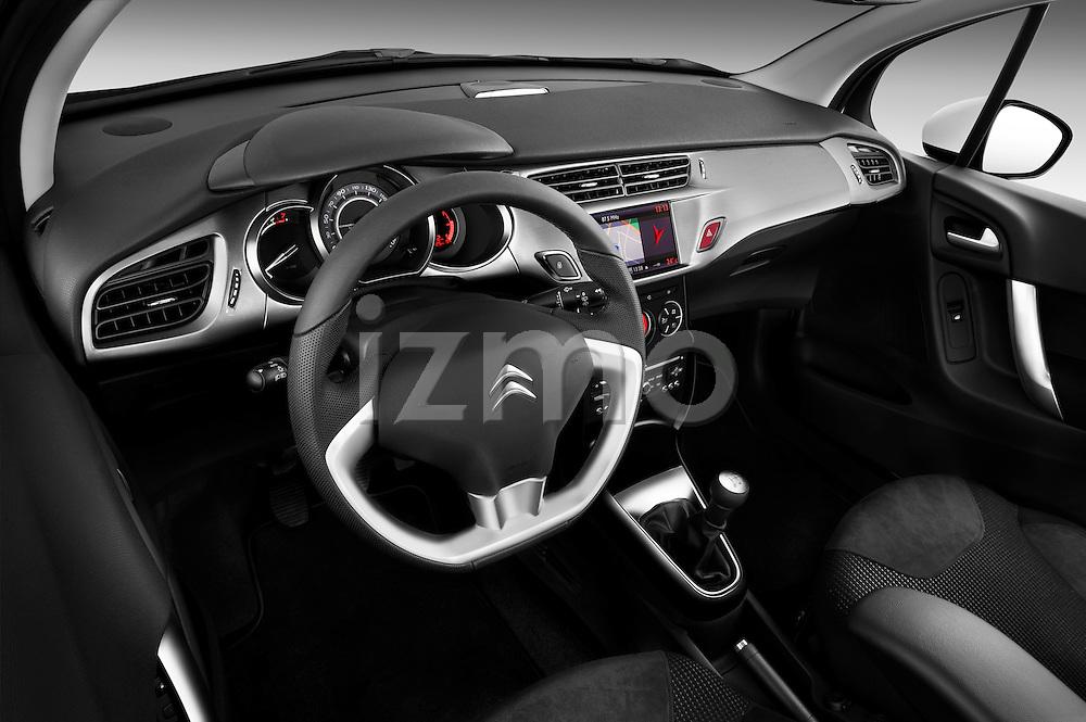 Citroen C3 Exclusive 5 Door Hatchback High angle dashboard view 2010 Stock Photo