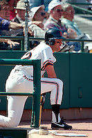 SCOTTSDALE, AZ - Will Clark of the San Francisco Giants blows a bubble in the on deck circle during a spring training game against the California Angels at Scottsdale Stadium in Scottsdale, Arizona in 1992. Photo by Brad Mangin