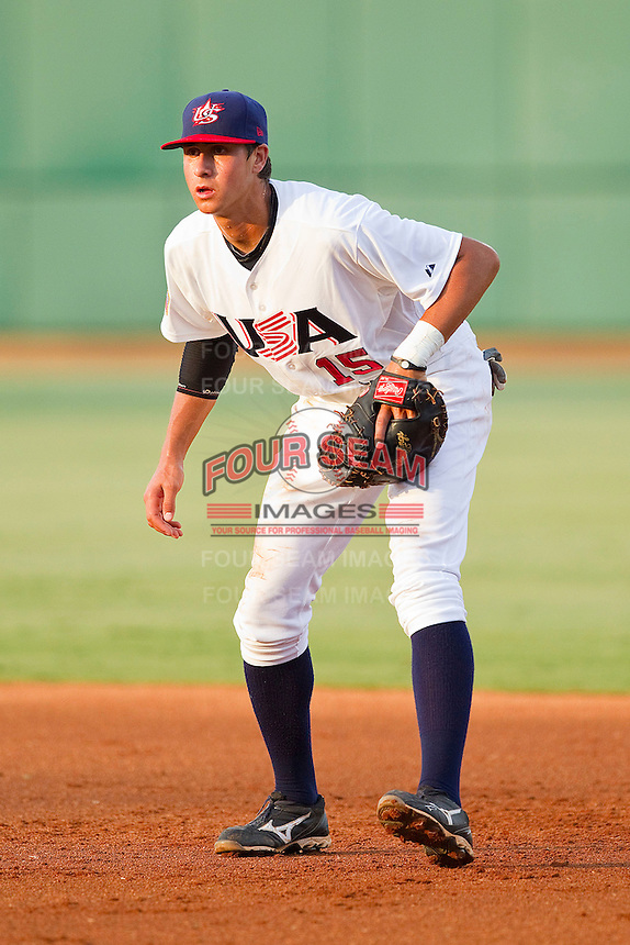 First baseman Joey Gallo #15 of the USA 18u National Team on defense against the USA Baseball Collegiate National Team at the USA Baseball National Training Center on July 2, 2011 in Cary, North Carolina.  The College National Team defeated the 18u team 8-1.  Brian Westerholt / Four Seam Images