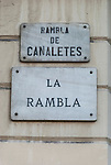 La Rambla street sign, Barcelona, Spain.<br />