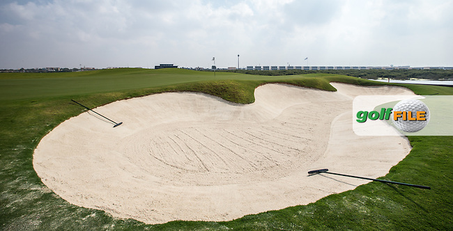 View of the right-side bunker on the 2nd at Al Zorah Golf Club, Dubai, United Arab Emirates.  26/01/2016. Picture: Golffile | David Lloyd<br /> <br /> All photos usage must carry mandatory copyright credit (&copy; Golffile | David Lloyd)