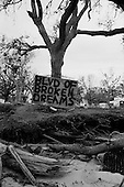 Long Beach, Mississippi.USA.December 2, 2005 ..Hurricane Katrina damage and recovery along the coast. Sign along highway 90 that runs the length of the coast....