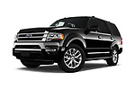 Stock pictures of low aggressive front three quarter view of 2016 Ford Expedition Limited 5 Door SUV Low Aggressive