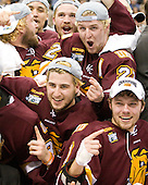 ?, J.T. Brown (Duluth - 23), Jake Hendrickson (Duluth - 15), Mike Connolly (Duluth - 22), Mike Seidel (Duluth - 17), Kyle Schmidt (Duluth - 7) - The University of Minnesota-Duluth Bulldogs celebrated their 2011 D1 National Championship win on Saturday, April 9, 2011, at the Xcel Energy Center in St. Paul, Minnesota.