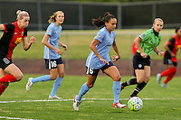 Piscataway, NJ, May 7, 2016.  Taylor Lytle  (6) of Sky Blue FC dribbles upfield with Alanna Kennedy (8) of the Western New York Flash on her heels.  The Western New York Flash defeated Sky Blue FC, 2-1, in a National Women's Soccer League (NWSL) match at Yurcak Field.