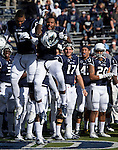 Nevada's #12 Hasaan Henderson, left, and senior #1 Brandon Wimberly get fired up during Senior Day celebrations before the game against the BYU Cougars  played at Mackay Stadium on Saturday afternoon, November 30, 2013 in Reno, Nevada.
