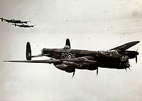 BNPS.co.uk (01202 558833)<br /> Pic:  DavidLay/BNPS<br /> <br /> Lancaster's enroute to occupied Europe.<br /> <br /> Bomber command heroes WW2 exploits discovered in a shoebox.<br /> <br /> The personal effects of a fearless 'Tail-end Charlie' have been discovered in a shoebox - and they include a charming set of photos of his wartime service.<br /> <br /> Flight Sergeant Douglas Alexander, of 460 Squadron, took part in nearly 40 bombing raids over Germany, including the famous assault on Hitler's mountain retreat, Berchtesgaden.<br /> <br /> As a tail gunner, he sat in a tiny glass turret at the rear of Lancaster and Halifax bombers - a terribly exposed position.<br /> <br /> The shoebox, containing his bravery medals, logbooks and photos, was bought into auctioneer David Lay Frics, of Penzance, Cornwall, by his daughter.<br /> <br /> Flt Sgt Alexander's medal group includes the prestigious Distinguished Flying Medal, awarded for 'exceptional valour, courage and devotion to duty', with his photos capturing the camarederie which existed in the RAF as the airmen risked their lives on every mission to defeat Adolf Hitler.