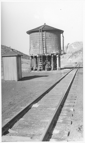 Mears Junction water tank as viewed from west.<br /> D&amp;RGW  Mears Junction, CO  1938