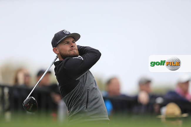 Tyrrell Hatton (ENG) on the 18th tee during the final round of the Waste Management Phoenix Open, TPC Scottsdale, Scottsdale, Arisona, USA. 03/02/2019.<br /> Picture Fran Caffrey / Golffile.ie<br /> <br /> All photo usage must carry mandatory copyright credit (© Golffile | Fran Caffrey)