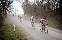 Carl Fredrik Hagen (NOR/Lotto-Soudal) piloting Tim Wellens (BEL/Lotto-Soudal) over the white dust roads of Tuscany<br /> <br /> 13th Strade Bianche 2019 (1.UWT)<br /> One day race from Siena to Siena (184km)<br /> <br /> ©kramon