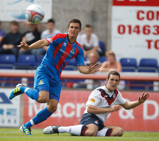 Lee Wallace gets a cross in as Thomas Piemayr watches