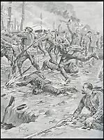 BNPS.co.uk (01202 558833)<br /> Pic: DixNoonanWebb/BNPS<br /> <br /> An artist&rsquo;s impression of Sanders (left) and his party driving off some Germans and rescuing prisoners.<br /> <br /> A Victoria Cross awarded to a hero British soldier on the first day of the Somme is being sold by his family for &pound;220,000 over 100 years later.<br /> <br /> Corporal George Sanders led a band of 30 men in repelling repeated German attacks over two days after a communications break down left them cut off in an enemy trench.<br /> <br /> For nearly two days without any food or water, he drove off a raid by the enemy which required hand-to-hand combat using bayonets and then stood firm against two strong bombing attacks.<br /> <br /> His Victoria Cross and Military Cross have been passed down through the family and are now to be sold for the very first time at London auctioneers Dix Noonan Webb.