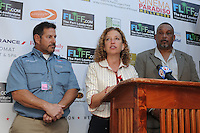 FORT LAUDERDALE, FL - NOVEMBER 11: Debbie Wasserman Schultz, Neal Stark, First Sgt. Rudy Watt and Abigail Sharon attend The 29th Annual Fort Lauderdale International Film Festival at Cinema Paradiso to highlight Post Traumatic Stress Disorder on Veteran'sDay on November 11, 2014 in Fort Lauderdale, Florida. Credit: mpi04/MediaPunch