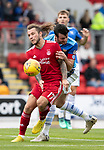 St Johnstone v Aberdeen&hellip;15.09.18&hellip;   McDiarmid Park     SPFL<br />Stevie May battles with Joe Shaughnessy<br />Picture by Graeme Hart. <br />Copyright Perthshire Picture Agency<br />Tel: 01738 623350  Mobile: 07990 594431
