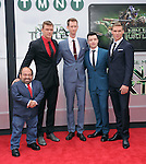 Jeremy Howard, Danny Woodburn, Alan Ritchson, Noel Fisher and Pete Ploszek attends The Paramount Pictures and Nickelodeon Movies Los Angeles premiere of TEENAGE MUTANT NINJA TURTLES at the Regency Village Theater in Westwood, California on August 03,2014                                                                               © 2014 Hollywood Press Agency