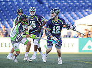 Annapolis, MD - July 7, 2018: Chesapeake Bayhawks Ryan Tucker (12) looses the ball during the game between New York Lizards and Chesapeake Bayhawks at Navy-Marine Corps Memorial Stadium in Annapolis, MD.   (Photo by Elliott Brown/Media Images International)
