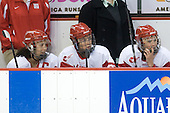 Melissa Tetreau (BU - 20), Tara Watchorn (BU - 27), Carly Warren (BU - 6) - The Boston University Terriers defeated the Providence College Friars 5-3 on Saturday, November 14, 2009, at Agganis Arena in Boston, Massachusetts.