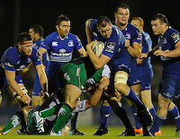 19th September 2014; <br /> Leinster's Devin Toner is tackled by Denis Buckley and Nathan White of Connacht.<br /> Guinness PRO12, Connacht v Leinster . <br /> The Sportsground, Galway. <br /> Picture credit: Tommy Grealy/actionshots.ie