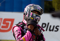 Oct 6, 2013; Mohnton, PA, USA; NHRA top fuel dragster driver Antron Brown at the end of the Auto Plus Nationals at Maple Grove Raceway. Mandatory Credit: Mark J. Rebilas-