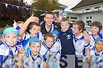Crystal Swing Derek Burke who is Castleisland Desmonds Celebrity Banisteoir gets a huge welcome to Castleisland Boys National school on Friday l-r: Luke Walsh, Ben Cooney, Luke Walsh, James McEllistrim and Dylan Brosnan