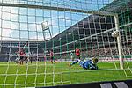 13.04.2019, Weser Stadion, Bremen, GER, 1.FBL, Werder Bremen vs SC Freiburg, <br /> <br /> DFL REGULATIONS PROHIBIT ANY USE OF PHOTOGRAPHS AS IMAGE SEQUENCES AND/OR QUASI-VIDEO.<br /> <br />  im Bild<br /> <br /> 2:0 Tor Theodor Gebre Selassie (Werder Bremen #23) Alexander Schwolow (SC Freiburg #01)<br />  Aufgenommen mit der Hintertor Remote Kamera<br /> <br /> Foto &copy; nordphoto / Kokenge