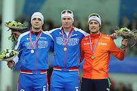 SPEED SKATING: STAVANGER: Sørmarka Arena, 29-01-2016, ISU World Cup, Podium 500m Men Division A, Ruslan Murashov (RUS), Pavel Kulizhnikov (RUS), Kai Verbij (NED), ©photo Martin de Jong