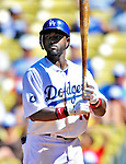 24 July 2011: Los Angeles Dodgers outfielder Tony Gwynn stands in the batter's box during a game against the Washington Nationals at Dodger Stadium in Los Angeles, California. The Dodgers defeated the Nationals 3-1 to take the rubber match of their three game series. Mandatory Credit: Ed Wolfstein Photo