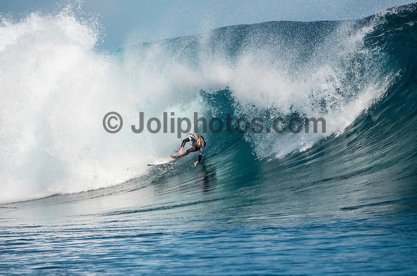 Namotu Island, Fiji (Tuesday, June 2, 2015) Laura Enever (AUS) -Action continued today at the fifth stop on the 2015 WSL Championship Tour (CT), the Fiji Women&rsquo;s Pro, with a day of high drama and high scores. The world&rsquo;s best female surfers posted four nine-point rides as competition ran through Rounds 2 and 3 in solid surf at Cloudbreak. <br />  <br /> Rookie Tatiana Weston-Webb (HAW) was the standout of the day, claiming both the highest heat total and single-wave score, while defending event winner Sally Fitzgibbons (AUS) suffered a perforated eardrum in the heavy conditions but still made it through to the Quarterfinals.<br />  <br /> Weston-Webb (HAW) had an impressive run of form, looking confident and at ease on her forehand in the sizable surf. She started with a convincing victory over Sage Erickson (USA) in Round 2, pulling into the wave of the day for a long, deep tube and earning a near-perfect 9.73 (out of a possible 10). The young Hawaiian went on to face Jeep Leaderboard No. 1 and two-time World Champion Carissa Moore (HAW) and Coco Ho (HAW) in Round 3 where another nine-point ride saw her take the top spot and a place in the Quarterfinals, sending her opponents to Round 4.<br /> <br /> The surf was in the 4'-6' range with light winds for most of the morning. A light onshore came up early afternoon and the swell became inconsistent.   Photo: joliphotos.com
