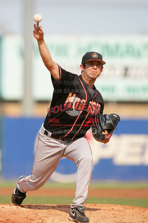 September 7 2009:  Bruce Billings of the Modesto Nuts during game against the High Desert Mavericks at Maverick Stadium in Adelanto,CA.  Photo by Larry Goren/Four Seam Images