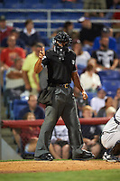 Umpire Jeremie Rehak during a game between the Trenton Thunder and Binghamton Mets on August 8, 2015 at NYSEG Stadium in Binghamton, New York.  Trenton defeated Binghamton 4-2.  (Mike Janes/Four Seam Images)