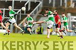 Na Gaeil in action against  Glenbeigh Glencar in the Castleisland Mart Junior Premier Football Championship.