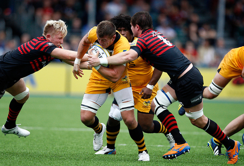 Photo: Richard Lane/Richard Lane Photography. Aviva Premiership. Saracens  v London Wasps. 05/10/2013. Wasps' Ed Jackson attacks.
