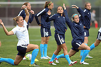 Piscataway, NJ, May 13, 2016. Sky Blue players Krstin Grubka (13), Taylor Lytle (6) and Nikki Stanton (7) warm up prior to their match with the Boston Breakers. Sky Blue FC defeated the Boston Breakers, 1-0, in a National Women's Soccer League (NWSL) match at Yurcak Field.