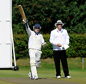 Scotland V Afghanistan, ICC Intercontinental Cup tie, Day 2, at New Cambusdoon, Ayr - Afghanistan centurion Samiullah Shenwari raises his bat to signal his maiden first class hundred. Umpire is Ian Ramage - Picture by Donald MacLeod 12.08.10 - mobile 07702 319 738 - clanmacleod@btinternet.com
