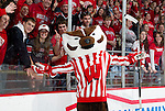 Wisconsin Badgers mascot Bucky Badger poses for the camera during an NCAA hockey game against the Alabama Huntsville Chargers at the Kohl Center in Madison, Wisconsin on October 15, 2010. The Badgers won 7-0. (Photo by David Stluka)
