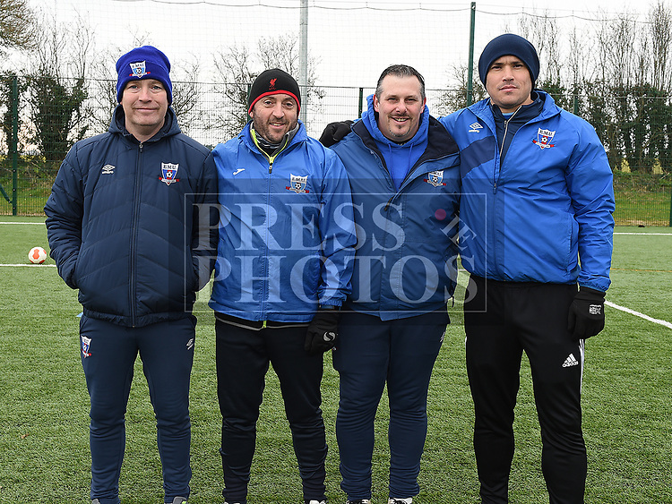 East Meath United Football Academy coaches Dave Gaffney, Alan Clarke, Robbie Corr and Barry Burke. Photo:Colin Bell/pressphotos.ie