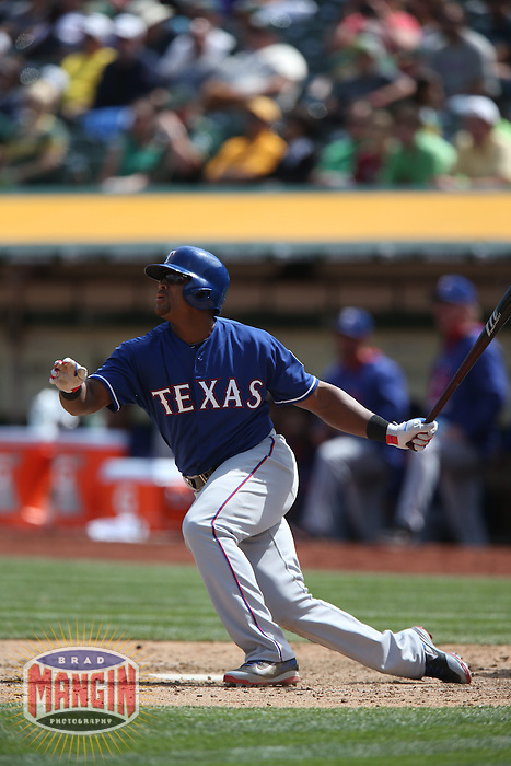 OAKLAND, CA - APRIL 9:  Adrian Beltre #29 of the Texas Rangers hits a home run against the Oakland Athletics during the game at O.co Coliseum on Thursday, April 9, 2015 in Oakland, California. Photo by Brad Mangin