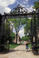 AJ4380, university, college, Yale, campus, New Haven, Connecticut, Entrance gate to Yale University campus in New Haven in the state of Connecticut.