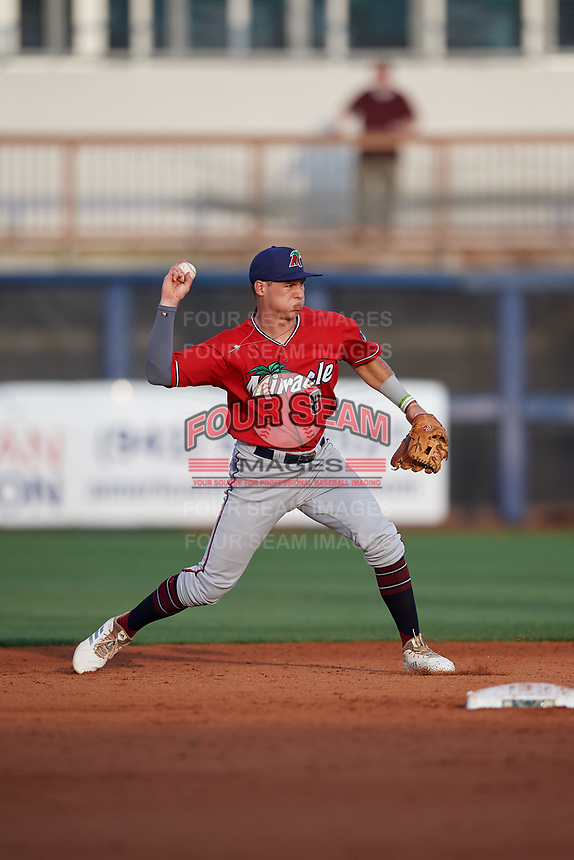 Fort Myers Miracle second baseman Michael Helman (8) throws to first during a Florida State League game against the Charlotte Stone Crabs on April 6, 2019 at Charlotte Sports Park in Port Charlotte, Florida.  Fort Myers defeated Charlotte 7-4.  (Mike Janes/Four Seam Images)