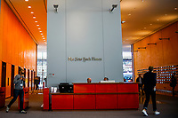 "NEW YORK, USA - October 14: People walk inside the New York Times building on October 14, 2019 in New York, USA. NY Times on Sunday evening, published a story titled, ""Macabre Video of Fake Trump Shooting Media and Critics Is Shown at His Resort."" The video showed the president as a mass shooter where he is executing media and his political opponents inside church. It was dysplayed at a pro Trump conference in Miami. NY Times is an American newspaper based in New York City with worldwide influence,  the paper has won 127 Pulitzer Prizes,  being ranked 18th in the world by circulation. (Photo by Eduardo MunozAlvarez/VIEWpress)"