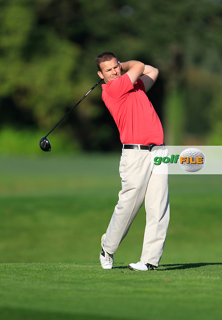 David Jones (Bushfoot G.C) on the 13th tee during Round 1 of The Cassidy Golf 103rd Irish PGA Championship in Roganstown Golf Club on Thursday 10th October 2013.<br /> Picture:  Thos Caffrey / www.golffile.ie